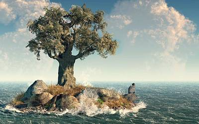 Global Warming Digital Art - One Tree Island by Daniel Eskridge