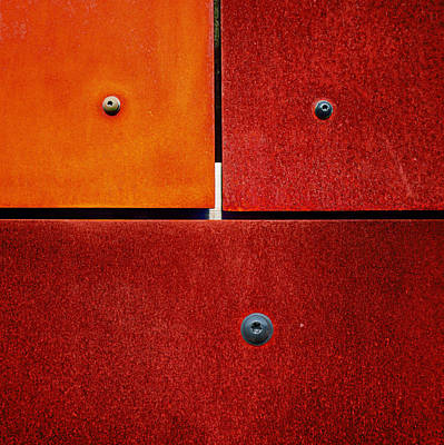 Rusted Photograph - One Two Three - Colorful Rust - Red by Menega Sabidussi