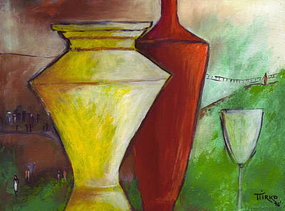 Painting - One Upon A Time Jars And Wine by Mirko Gallery