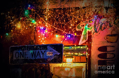 One Way Night Cafe - Nola Art Print by Kathleen K Parker