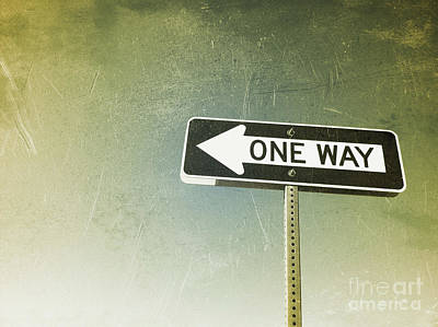 Photograph - One Way Road Sign by Bryan Mullennix