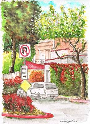 San Carlos Painting - One Way Sign In San Vicente Blvd., West Hollywood, California by Carlos G Groppa