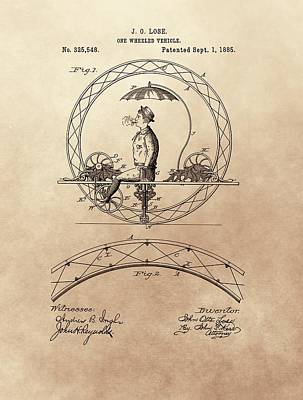 Umbrellas Mixed Media - One Wheeled Vehicle Patent 1885 by Dan Sproul