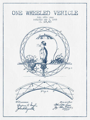Transportation Digital Art - One Wheeled Vehicle Patent Drawing from 1885 - Blue Ink by Aged Pixel