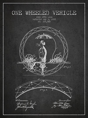 Transportation Digital Art - One Wheeled Vehicle Patent Drawing from 1885 - Dark by Aged Pixel