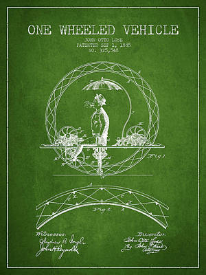 Transportation Digital Art - One Wheeled Vehicle Patent Drawing from 1885 - Green by Aged Pixel