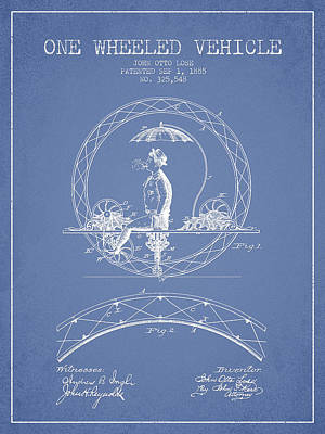 Transportation Digital Art - One Wheeled Vehicle Patent Drawing from 1885 - Light Blue by Aged Pixel