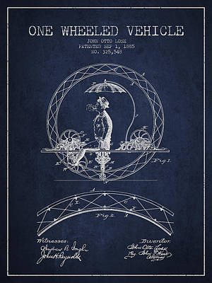 Transportation Digital Art - One Wheeled Vehicle Patent Drawing from 1885 - Navy Blue by Aged Pixel