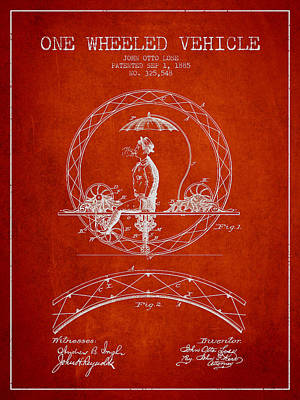 Transportation Digital Art - One Wheeled Vehicle Patent Drawing from 1885 - Red by Aged Pixel