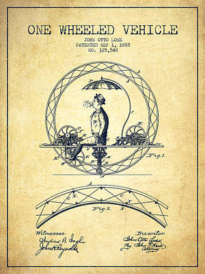 Transportation Digital Art - One Wheeled Vehicle Patent Drawing from 1885 - Vintage by Aged Pixel