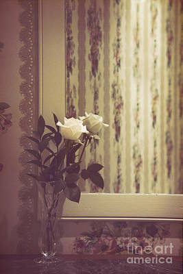 Antique Roses Vase Wall Art - Photograph - One White Rose by Margie Hurwich