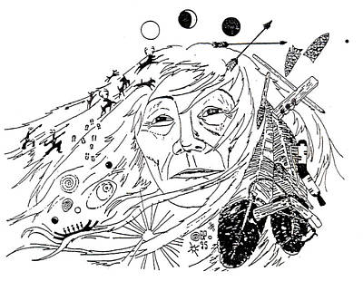 Primitive Drawing - One With The Earth by Benjamin Raven Pressley