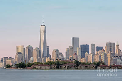 Freedom Photograph - One World Trade Center And Ellis Island 2 by Susan Candelario