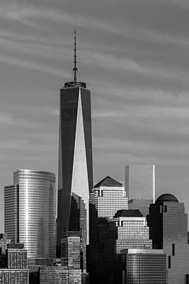 New York City Skyline Photograph - One World Trade Center Bw by Susan Candelario