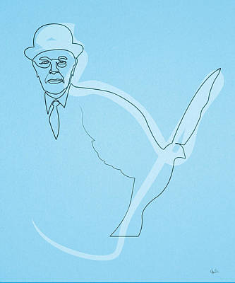 Digital Art - Oneline Magritte by Quibe