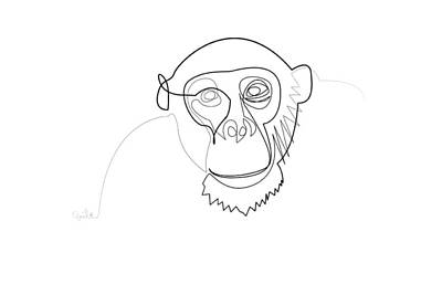 Digital Art - Oneline Monkey by Quibe