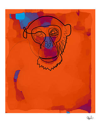 Digital Art - Oneline Orange Monkey by Quibe