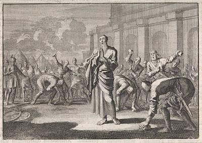 Onias Stoned By Jews, Jan Luyken, Pieter Mortier Art Print