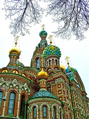 Onion Domes Digital Art - Onion Domes On Church Of The Resurrection Or Spilled Blood In Saint Petersburg-russia by Ruth Hager