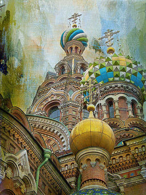 Onion Domes Mixed Media - Onion Domes St Petersburg Russia by Elaine Frink