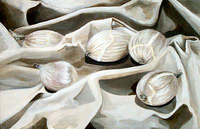 Monochromatic Study Painting - Onion Still Life by Rocio Fernandez