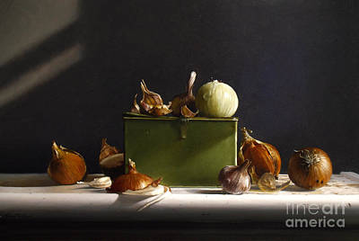 Garlic Painting - Onions And Garlic by Larry Preston