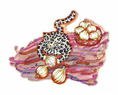 Gray Tabby Drawing - Onions by Joy Calonico
