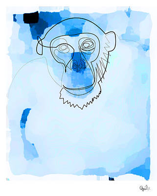 Digital Art - Online Blue Monkey  by Quibe