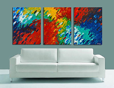 Blue Abstract Painting - Only Till Eternity Hung As A Triptych By Sharon Cummings by Sharon Cummings