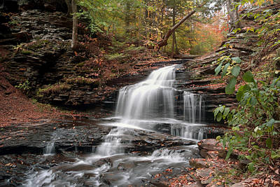 Photograph - Onondaga Waterfall Transitions Into Fall by Gene Walls