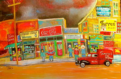 Sweet Caporal Cigarettes Painting - Ontario Street 1960 by Michael Litvack