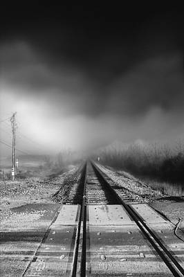 Onward Photograph - Onward - Railroad Tracks - Fog by Jason Politte