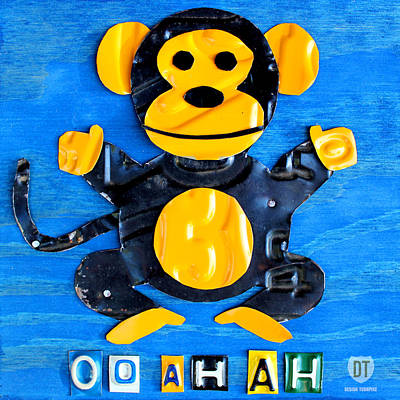 Travel Mixed Media - Oo Ah Ah The Monkey License Plate Art by Design Turnpike