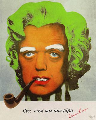 Wonka Digital Art - Oompa Loompa Self Portrait With Surreal Pipe by Filippo B