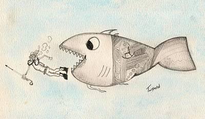 Fish Drawing - Oops by Dan Twyman