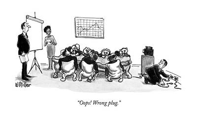 Electricity Drawing - Oops! Wrong Plug by Warren Miller