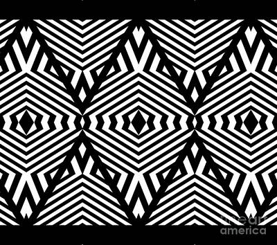 Digital Art - Op Art Black White Pattern Print No.336. by Drinka Mercep