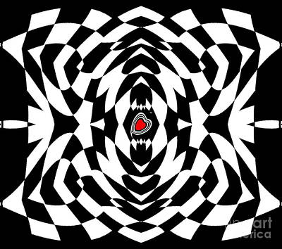 Concentration Digital Art - Op Art Black White Red Geometric Abstract No.129. by Drinka Mercep