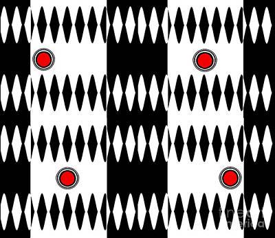 Op Art Black White Red Geometric Pattern Print No.238. Original