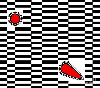 Op Art Geometric Black White Red Abstract No.222. Original