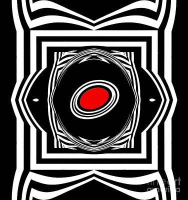 Digital Art - Op Art Geometric Black White Red Abstract Print No.33. by Drinka Mercep