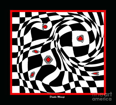 Concentration Digital Art - Op Art Geometric Black White Red Abstract Print No.70. by Drinka Mercep