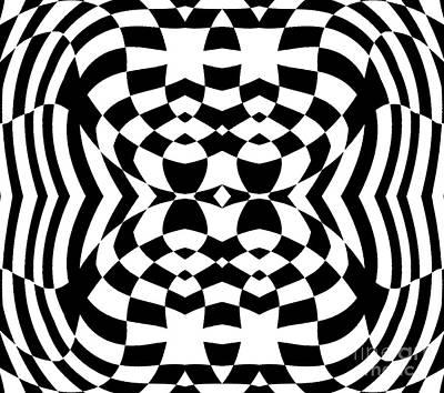 Op Art Geometric Pattern Black White Print No.230. Original