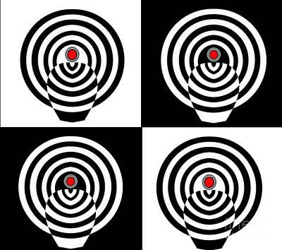 Concentration Digital Art - Op Art Minimalism Geometric Black White Red Abstract No.212 by Drinka Mercep