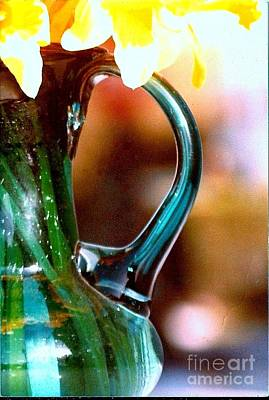 Print featuring the photograph New Orleans Opaque Blue Green Vase by Michael Hoard