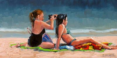 Girl In Landscape Painting - Open Air Salon by Laura Lee Zanghetti