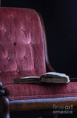 Open Book On Vintage Chair Art Print