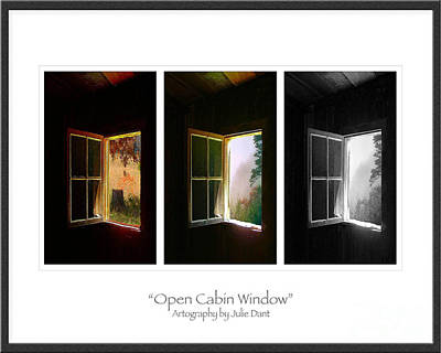 Log Cabins Photograph - Open Cabin Window Trio by Julie Dant