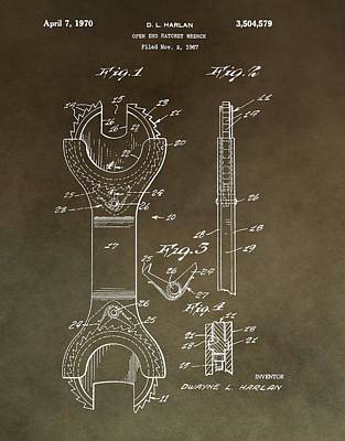 Mixed Media - Open End Ratchet Wrench Patent by Dan Sproul