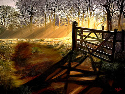 Mountain Valley Painting - Open Gate by James Shepherd